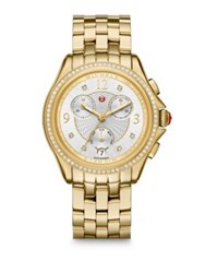 Michele Sport Chronograph Diamond And Goldtone Stainless Steel Bracelet Watch