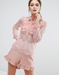 True Decadence Lace All Over Ruffle Blouse Dusty Pink