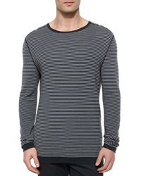 Theory Striped Long Sleeve Crewneck Sweater Gray Black