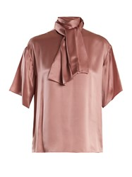 Hillier Bartley Tie Neck Silk Satin Blouse Pink