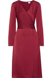 Iris And Ink Woman Siri Wrap Effect Crepe De Chine Dress Claret