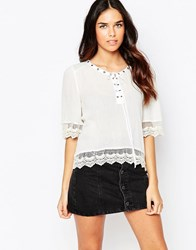 Jovonna Simple Life Top With Lace Up Front White