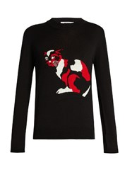 Msgm Cat Embroidered Wool Sweater Black Multi