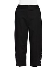 Rafaella Petite Curvy Fit Faux Snap Capri Pants Black