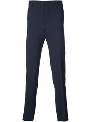 Prada Cropped Tailored Trousers Blue