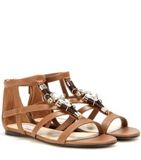 Jimmy Choo Nano Embellished Leather Sandals Beige