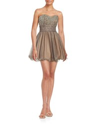 Blondie Nites Embellished Party Dress Taupe
