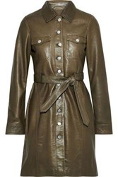 Muubaa Woman Belted Leather Mini Shirt Dress Army Green