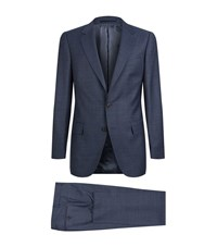 Gieves And Hawkes Plaid Check 2 Piece Suit Male Navy