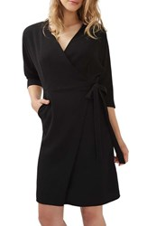 Topshop Women's Dolman Sleeve Wrap Midi Dress Black