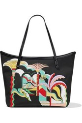 Emilio Pucci Woman Twist Leather Trimmed Printed Canvas Tote Black