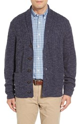 John W. Nordstromr Men's Nordstrom Cable Knit Shawl Collar Cashmere Cardigan Grey Dark Charcoal Slub