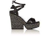 Sergio Rossi Women's Bilbao Leather Ankle Tie Platform Sandals Black Gold White