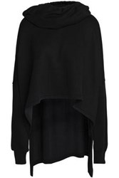Ann Demeulemeester Draped French Terry Hooded Sweatshirt Black