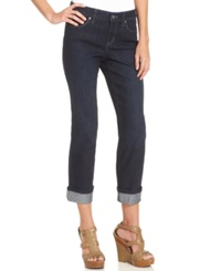 Style And Co. Curvy Fit Embellished Cuff Capri Jeans Rinse Wash