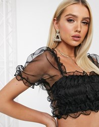 Parisian Square Neck Crop Top With Organza Puff Sleeves In Black