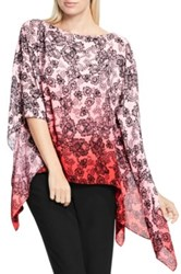 Vince Camuto Festive Lace Print Poncho Red