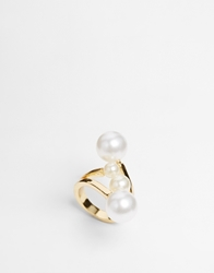 Designsix 3 Faux Pearl Wrap Ring