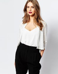 Supertrash Janto Cropped Jacket In Lace White
