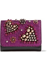 Christian Louboutin Macaron Mini Embellished Metallic Raffia And Patent Leather Wallet Magenta