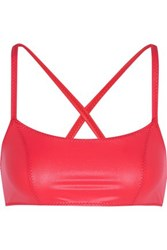 Lisa Marie Fernandez Glossed Stretch Jersey Sports Bra Red