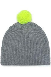 Duffy Pompom Embellished Ribbed Cashmere Beanie Gray