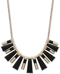 Dkny Gold Tone Black Stone Statement Necklace Created For Macy's