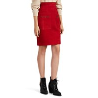 Martin Grant Suede Knee Length Skirt Red