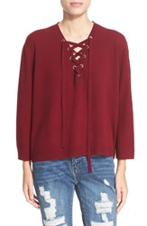The Kooples Women's Lace Up Wool And Cashmere Sweater Burgundy