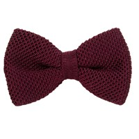 40 Colori Burgundy Solid Silk Knitted Bow Tie Brown Red