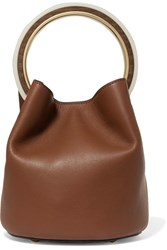 Marni Pannier Textured Leather Bucket Bag Brown