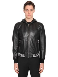 Versace Greca Hooded Leather Bomber Jacket Black