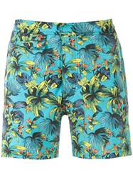 Amir Slama Foliage Print Swim Short Blue
