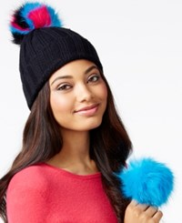 Betsey Johnson Xox Trolls Beanie With Detachable Pom Pom Only At Macy's Black