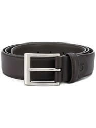 Canali Embroidered Logo Belt Brown