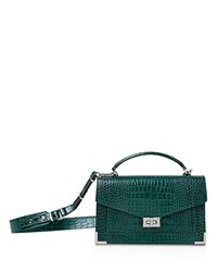 The Kooples Emily Croc Embossed Leather Medium Crossbody Green