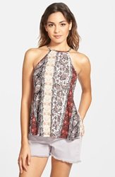 Threads Studio Thread Studio Mixed Print Tank Juniors Taupe Print