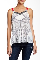 Jolt Red Strap Printed Tank Gray