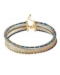 Fragments For Neiman Marcus Nine Row Seed Bead Choker Necklace Multi