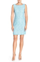 Women's Adrianna Papell Boatneck Lace Sheath Dress Turquoise Ivory