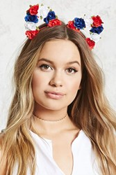 Forever 21 Floral Headband Red Blue