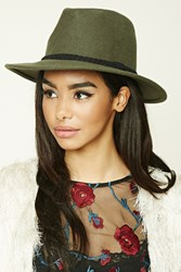 Forever 21 Braided Wool Fedora Olive Black