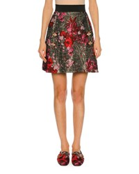 Dolce And Gabbana Metallic Floral Bouquet Jacquard Skirt Multi