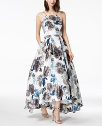 Betsy And Adam Printed Lace Up High Low Gown Ivory Blue