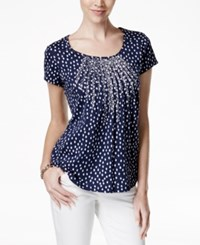 Charter Club Polka Dot Print Short Sleeve Top Only At Macy's Intrepid Blue