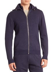 Saks Fifth Avenue Zip Front Hooded Sweater Marled Blue