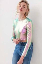 Silence And Noise Long Sleeve Holographic Top Green