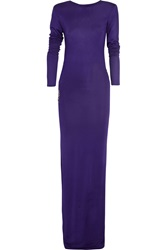 Balmain Embellished Jersey Gown Purple