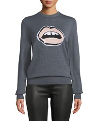 Markus Lupfer Mia Painted Lip Intarsia Wool Pullover Sweater Gray Pink