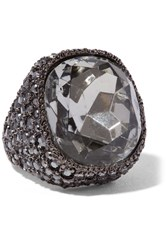 Kenneth Jay Lane Gunmetal Plated Crystal Ring One Size